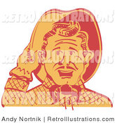 Retro Illustration of a Friendly Cowboy Man Tipping His Hat While Saying Howdy to a Friend by Andy Nortnik