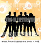 Retro Illustration of a Friendly Group of Five Black Silhouetted Friends Standing over a Retro Orange Background with Circles by KJ Pargeter