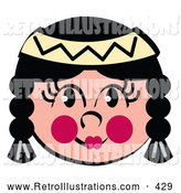 Retro Illustration of a Friendly Native American Tribal Indian Girl with Face Paint by Andy Nortnik