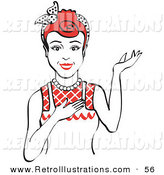 Retro Illustration of a Friendly Red Haired Housewife, Waitress or Maid Woman Wearing an Apron and Resting One Hand on Her Chest While Holding the Other Hand up As if to Present Something by Andy Nortnik