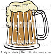 Retro Illustration of a Frothy Mug of Beer in a Bar by Andy Nortnik