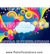February 22nd, 2014: Retro Illustration of a Funky Cloud, Circle, Heart and Rainbow Grunge Background by MilsiArt