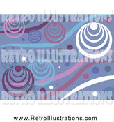Retro Illustration of a Funky Purple White and Blue Retro Circle Background by Prawny
