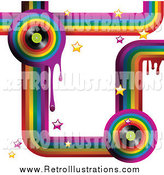 Retro Illustration of a Funky Rainbow Background with Drips, Stars and Music Vinyl Records on White by Elaineitalia