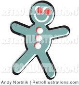 Retro Illustration of a Gingerbread Man Cookie with a Smile by Andy Nortnik