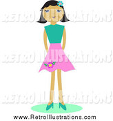 Retro Illustration of a Girl in a Pink Skirt by Bpearth