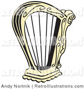 Retro Illustration of a Gold Harp Instrument over a White Background by Andy Nortnik