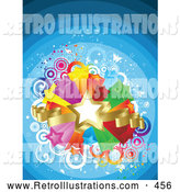 Retro Illustration of a Gold Star and Ribbons over a Bursting Island of Yellow, Purple, Orange, Red, Green and Blue Stars over a Blue Retro Background by KJ Pargeter