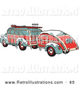 Retro Illustration of a Green and Red Woody Auto Hauling a Trailer and Carrying Skis and Poles on the Roof Retro by Andy Nortnik