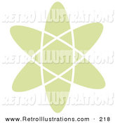 Retro Illustration of a Green Atom over a Solid White Background by Andy Nortnik