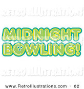 Retro Illustration of a Green Midnight Bowling Sign on White by Andy Nortnik