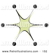 Retro Illustration of a Green Starburst with Black Tips on White by Andy Nortnik