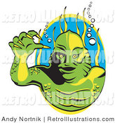 Retro Illustration of a Green Swamp Monster with Yellow Claws and Scaly Skin, Breathing Underwater with Bubbles and Aquatic Plants by Andy Nortnik
