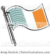 July 22nd, 2012: Retro Illustration of a Green White and Orange Irish Flag Waving in the Breeze on White by Andy Nortnik
