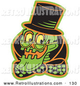 Retro Illustration of a Grinning Green Human Skeleton Wearing a Hat, Glasses and a Bowtie and Looking Left by Andy Nortnik