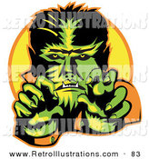 Retro Illustration of a Grinning Male Werewolf Showing Fangs and Talons While Cast in Green and Yellow Lighting by Andy Nortnik