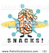 "Retro Illustration of a Grinning Popcorn Carton Character Filled with Buttery Popcorn Pointing down at Text Reading ""Snacks"" at a Movie Theater by Andy Nortnik"