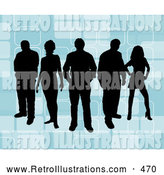 Retro Illustration of a Group of 5 Black Silhouetted People Standing over a Retro Blue Background with Rectangle Designs by KJ Pargeter