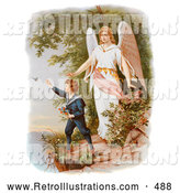 Retro Illustration of a Guardian Angel Watching over a Child Playing near a Tall Cliff, Circa 1890 by OldPixels