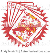 June 23rd, 2012: Retro Illustration of a Hand of Red Poker Cards Including the Ace of Hearts, 10 of Hearts, Jack of Hearts, Queen of Hearts and King of Hearts by Andy Nortnik