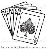 July 3rd, 2012: Retro Illustration of a Hand of Suit Cards Showing a 10, Jack, Queen, King and Ace of Spades by Andy Nortnik