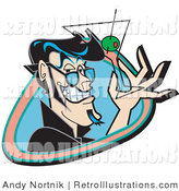 Retro Illustration of a Handsome Black Haired Man Smiling While Holding up a Martini Glass with an Olive by Andy Nortnik