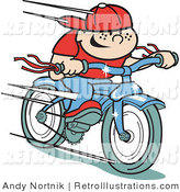 May 20th, 2012: Retro Illustration of a Happy Boy Riding Fast on a Brand New Blue Bike by Andy Nortnik