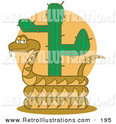 Retro Illustration of a Happy Brown Rattlesnake Holding out His Rattle and Curled Around a Desert Cactus by Andy Nortnik
