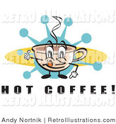 July 12nd, 2012: Retro Illustration of a Happy Coffee Cup Character with Steamy Hot Coffee Gesturing a Thumbs up by Andy Nortnik