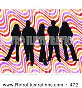 Retro Illustration of a Happy Group of Five Black Silhouetted People Standing over a Colorful Wavy Retro Background by KJ Pargeter