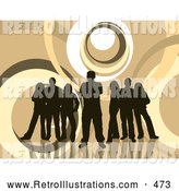 Retro Illustration of a Happy Group of Five Dark Brown Silhouetted People Standing over a Retro Brown and White Background with Circles by KJ Pargeter