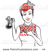 Retro Illustration of a Happy Housewife Woman in an Apron, Holding up a Bottle of Cooking Oil by Andy Nortnik