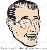 Retro Illustration of a Happy Man with Black Hair Wearing Glasses and Laughing Retro by Andy Nortnik