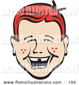 Retro Illustration of a Happy Red Haired Freckled Young Boy with Missing Front Teeth, Laughing Retro by Andy Nortnik