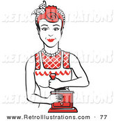 Retro Illustration of a Happy Red Haired Housewife or Maid Woman Facing Front and Smiling While Using a Manual Coffee Grinder by Andy Nortnik