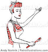 Retro Illustration of a Happy Red Haired Housewife or Maid Woman in a White Apron, Singing and Using a Spoon While Baking in the Kitchen by Andy Nortnik