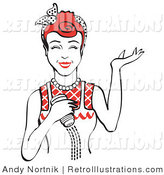 Retro Illustration of a Happy Red Haired Woman Holding a Salt Shaker While Cooking by Andy Nortnik