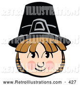 Retro Illustration of a Happy Smiling Pilgrim Boy Wearing a Black Hat by Andy Nortnik