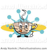June 27th, 2012: Retro Illustration of a Happy Steaming Coffee Cup Character with Steamy Hot Coffee by Andy Nortnik