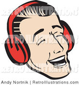 Retro Illustration of a Happy Young Man Wearing Red Headphones or Ear Muffs and Singing Christmas Carols by Andy Nortnik