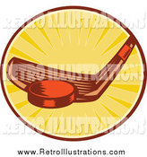 Retro Illustration of a Hockey Stick Hitting a Puck in a Circle of Rays by Patrimonio