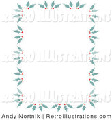 Retro Illustration of a Holiday Stationery Border of Holly and Berries by Andy Nortnik