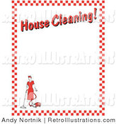 "Retro Illustration of a Housewife Woman Vacuuming with a Canister Vacuum with Text Reading ""House Cleaning!"" Borderd by Red Checkers Clipart Illustration by Andy Nortnik"