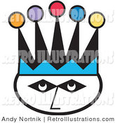 July 8th, 2012: Retro Illustration of a Joker's Face Wearing a Colorful Court Jester Hat by Andy Nortnik