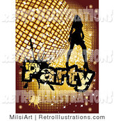 Retro Illustration of a Lady with a Retro Golden Disco Ball and Party Text by MilsiArt