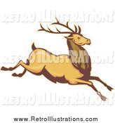 Retro Illustration of a Leaping Deer by Patrimonio