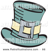 Retro Illustration of a Leprechaun's Green Tophat with a Buckle on White by Andy Nortnik