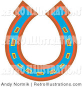 June 15th, 2012: Retro Illustration of a Lucky Blue, Red and Orange Horseshoe Upside down on White by Andy Nortnik