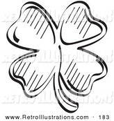 Retro Illustration of a Lucky Four Leaf Clover in Black and White by Andy Nortnik