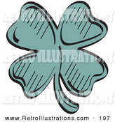 Retro Illustration of a Lucky Green Shamrock with Four Leaves by Andy Nortnik